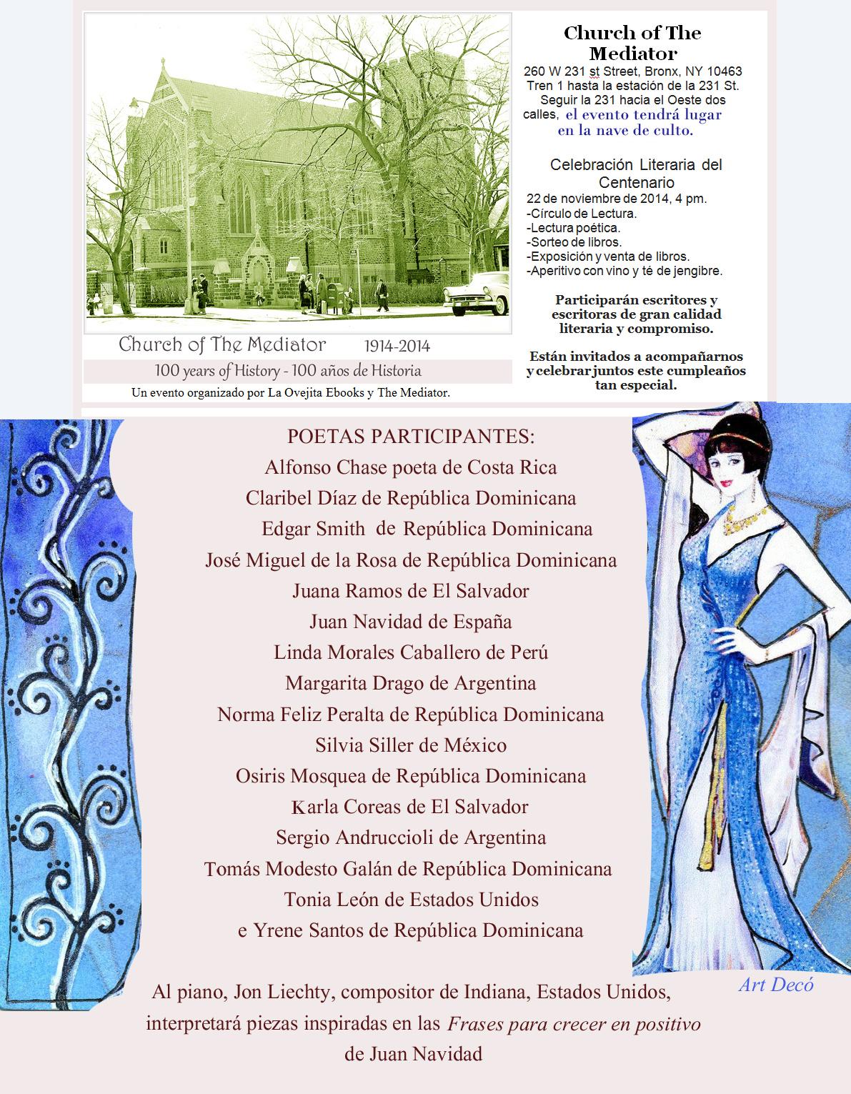 CARTEL COMPLETO con la lista de todos los autores y autoras participantes en el evento en El Mediador.