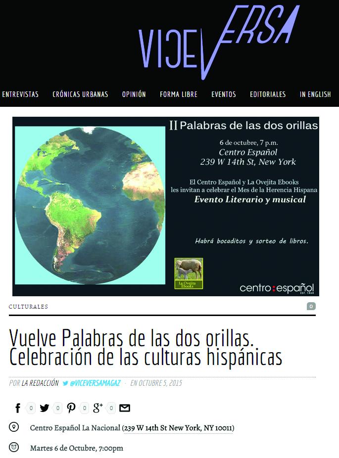 Aparición en la Revista virtual VIceversa sobre nuestro evento del 6 de octubre